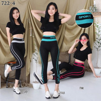 Celana leging senam wanita/ celana olahraga gym fitness aerobik import