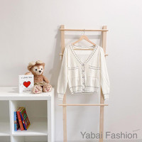 Set dress knitted & cardigan import - Putih, all size
