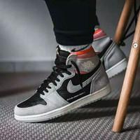 "Sepatu Nike Air Jordan 1 Retro High Neutral Grey Hyper Chrimson"""