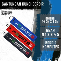 Keychain Gantungan Kunci Bordir Murah GEAR SHIFT Best Seller - Gear Hitam