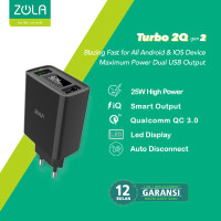 ZOLA Turbo 2Q Gen2 Smart Led Quick Charge 3.0 USB Charger Dual Output - Hitam