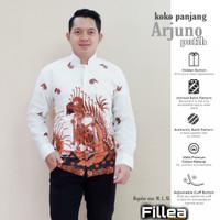 fillea koko batik pria panjang Arjuno putih baju solo alusan murah