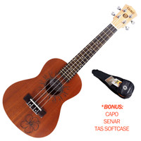 Ukulele Concerto 23 Inch BONUS Capo Senar Tas Kahiko UH33D Bunga