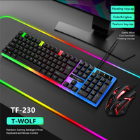T-WOLF TF230 Rainbow LED Gaming Keyboard And Mouse Combo Bundle