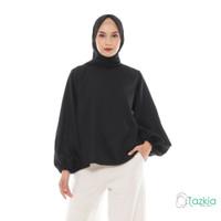 Atasan Muslim Wanita | Lune Blouse Hitam | S M L XL | Tazkia Hijab