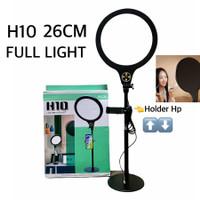 H10 26CM Ring light FULL LIGHT 10inc Selfie led Holder stand meja