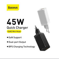 BASEUS CHARGER GaN SUPER FAST 45W mini Quick charger USB+tipe C UE ORI