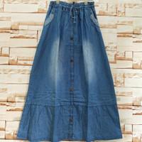 rok jeans rempel panjang dewasa