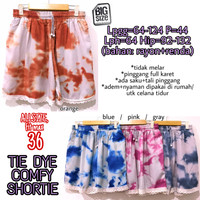 Tie Dye Comfy Shortie CELANA ADEM SANTAI PINGGANG KARET JUMBO FIT 36