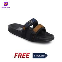 Sandal Pria Slide Footstep Footwear - Uno Navy Tan