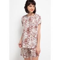 Nade Japan FT061 AMS Baju Tidur Tie Dye Marmer Wanita Set Baju Celana