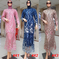 Dress Gamis Muslimah Duyung Tulle Bordir Premium Kebaya Modern