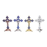 Salib Duduk Meja Katolik Besi Sinar 14cm Pajangan Dinding Rohani Murah