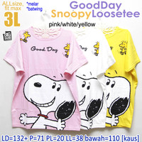 Good Day Snoopy Loosetee KAOS WANITA MELAR BATWING JUMBO XXXL 3XL 3L