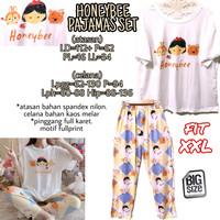 Honeybee Pajamas Set PIYAMA IMPORT MELAR PINGGANG KARET BIGSIZE XXL 2L