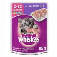 Makanan Kucing Basah Whiskas Pouch Junior 2-12 months Mackerel 85gr