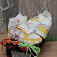 Sepatu Sneakers Nike Air Jordan 1 High x Off White Yellow