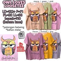 Owl Loves Loosetee KAOS ATASAN WANITA BATWING MELAR JUMBO XXXL 3XL 3L