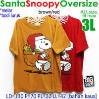 Santa Snoopy Oversize KAOS WANITA MELAR NATAL CHRISTMAS JUMBO XXXL 3XL
