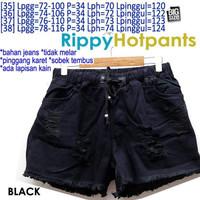 Rippy Hotpants (BLACK) JEANS WANITA PINGGANG KARET JUMBO 35 36 37
