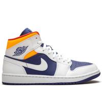 Nike Air Jordan 1 Mid White Deep Royal Blue Laser Orange ORIGINAL BNIB