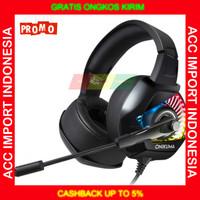Headset Gaming Headphone Onikuma RGB LED BASS Microphone Single Jack
