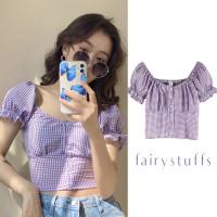 Premium Pakaian Wanita Blouse Kotak Crop Top Korea Baju Import Kemeja