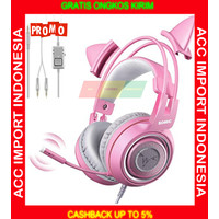 Headset Gaming Headphone Somic G951S Cat Ear Pink Lucu Mic Single Jack