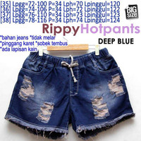 Rippy Hotpants (DEEP BLUE) JEANS HOTPANTS PINGGANG KARET JUMBO 35 36