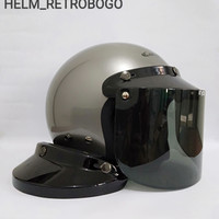 HELM CARGLOSS RETRO KACA DATAR - silver, M