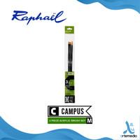 Kuas Lukis Raphael Campus Medium Set 3 Long Handle Synthetic Brush