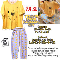 Yellow Pooh Pajamas Set PIYAMA BAJU TIDUR MELAR IMPORT JUMBO FIT XL