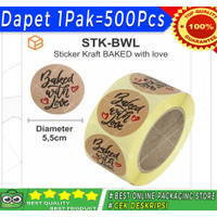Stiker Kraft Made / Baked With Love | Sticker Label Seal Decor - BAKED
