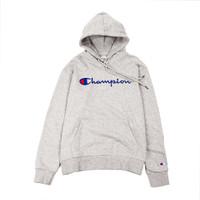 Champion Embroidered Logo Hoodie Grey - XL