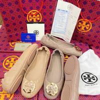 Sepatu Tory miror burch motif Hitam gold Nute Gold Sz36-41