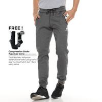 Tiento Celana Jogger Panjang Pria Long Pants Joger Basic Grey Sporty - S