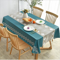 Premium PVC Table Cloth / Taplak Meja Makan Waterproof Anti Air - PVC Geo Blue