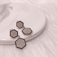 Hexagon Duo Earrings - Anting Crystal by Her Jewellery