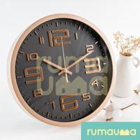 RUMAUMA Jam Dinding Minimalis Silent Diameter 30cm Wall Clock GOLD