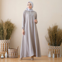 Biya Dress Gamis Busui Polos Syari Basic Simple Harian Bumil Abaya - abu silver, S