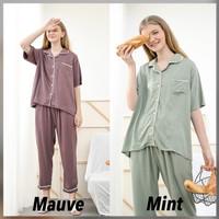 Alice Set Premium Basic - Sleepwear / Piyama Baju Tidur Rayon by RAHA