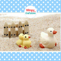 Miniature Hewan Duck SET Hiasan Terrarium Taman Diorama Aquarium