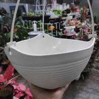 Grosir Pot bunga gantung Polin PK 02 Putih Ivory / broken white