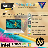 HP Laptop - 14s | Intel Core™ i3-1005G1 | 4GB | HDD 1TB | W10+OHS