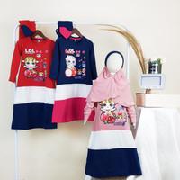 PAKAIAN BAJU FASHION DRESS KAOS TUNIK LOL ANAK PEREMPUAN TANGGUNG - NAVY, 4 (3 THN)