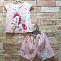 Baju setelan anak perempuan full print depan belakang S4 Unicorn