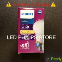 Lampu Bohlam LED Philips 6 Watt Warm White/Kuning, 6W 6 W 6Watt