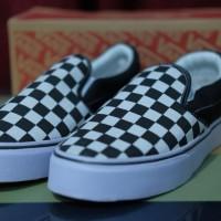 Sepatu Sneakers shoes Vans Slip On Checkerboard BW Black Murah Casual