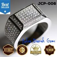 Cincin Pria Silver Perak Lapis Emas 18k Batu Cubic Zirconia JCP-006