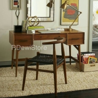 Meja kerja, meja belajar kayu jati minimalis retro